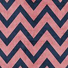 pink and navy chevron by beverlylefevre