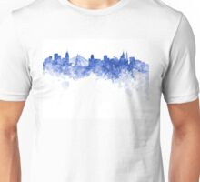 Sao Paulo skyline in blue watercolor on white background Unisex T-Shirt