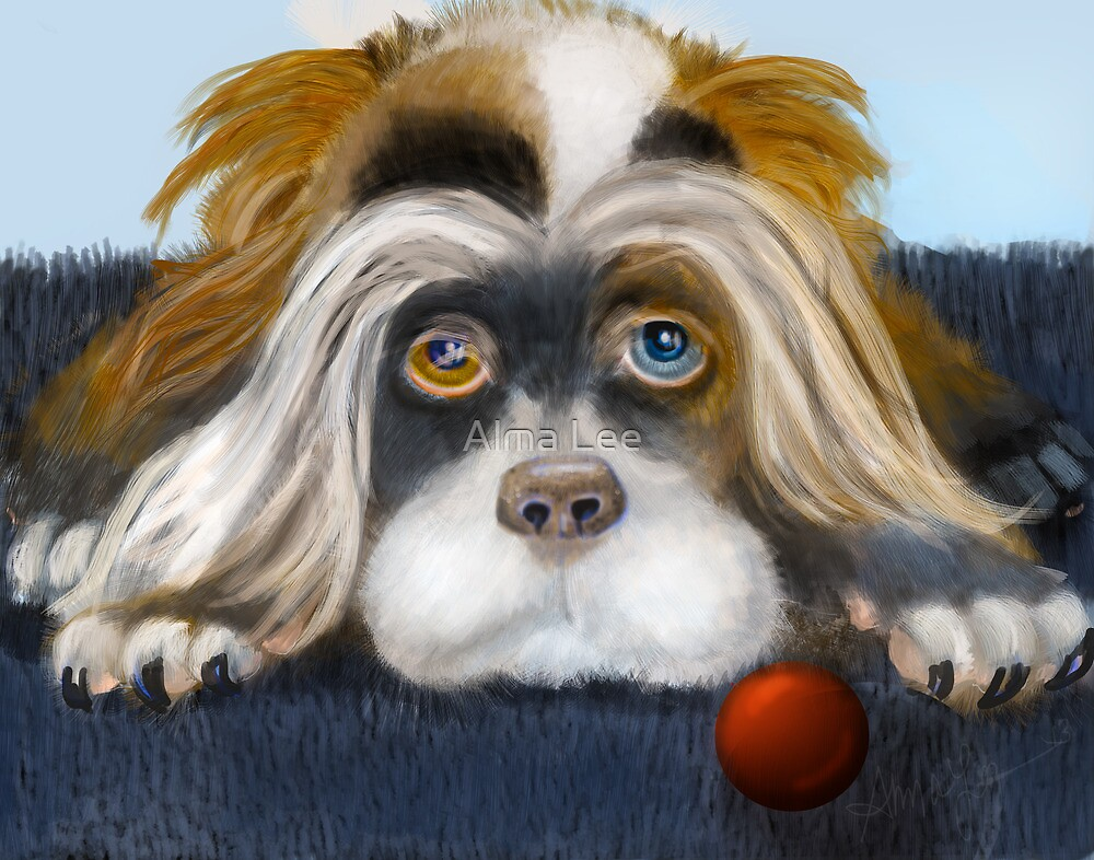 Bad Hair Day: PuffyButtons™ Puppy Alma Lee by Alma Lee