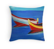 Boating on a bright sunny day Throw Pillow