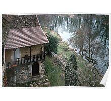 Boat beside Dordogne and cottage rooms Carennac 19840227 0054 Poster