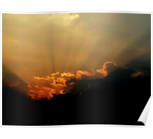 Sunset Rays Over Clouds Poster