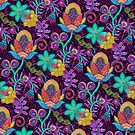 Colorful Retro Floral Design-Glass Beads Look by artonwear