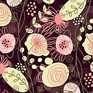 Cute Pastel Pink And Yellow Abstract Retro Flowers Design by artonwear