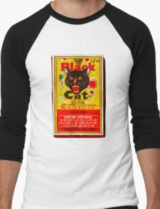 Black Cat Fireworks T-Shirt Men's Baseball ¾ T-Shirt