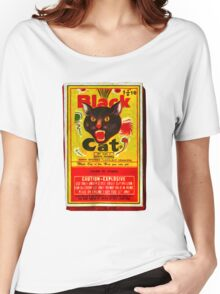 Black Cat Fireworks T-Shirt Women's Relaxed Fit T-Shirt
