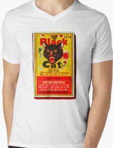 Black Cat Fireworks T-Shirt Mens V-Neck T-Shirt