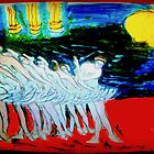 another oreilly original painting TINY DANCERS IN A ROW by Timothy C O'Reilly