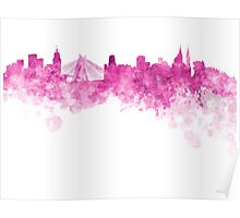 Sao Paulo skyline in pink watercolor on white background Poster