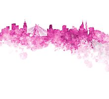Sao Paulo skyline in pink watercolor on white background Photographic Print