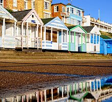 Reflected Beach Huts by Karen  Betts