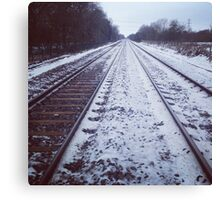 Rail track. Snow. Canvas Print