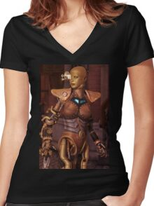 Steampunk Android Women's Fitted V-Neck T-Shirt