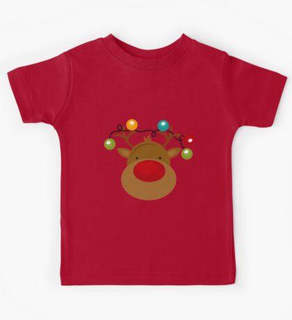 Reindeeer With christmas lights -kids Kids Tee