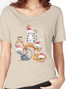 Kazart Xmas Cat Stack Tee Women's Relaxed Fit T-Shirt