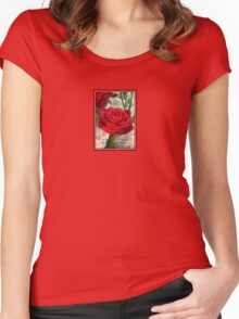 Whispers of Passion and Love Red Rose Greeting Card Women's Fitted Scoop T-Shirt