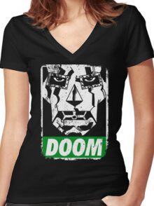 Obey DOOM Women's Fitted V-Neck T-Shirt