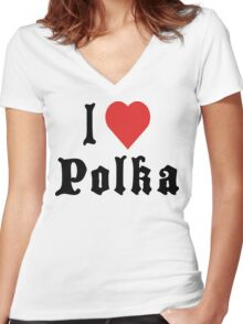I Love Polka Women's Fitted V-Neck T-Shirt