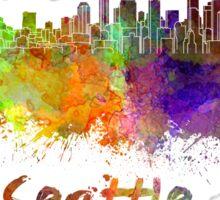 Seattle skyline in watercolor Sticker