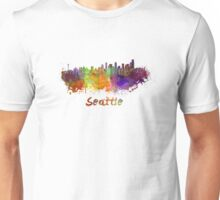 Seattle skyline in watercolor Unisex T-Shirt