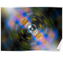 Music speaker on a colourful spinning background Poster