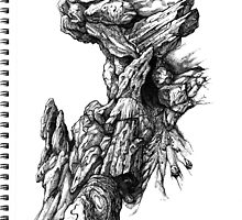 Rock Facade - Sketch Pen & Ink Illustration Art by jeffjag