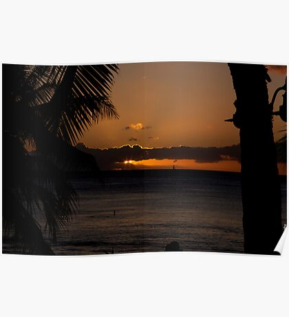 Sunset over Waikiki Poster