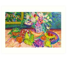 Fruity Feast with Flowers Art Print