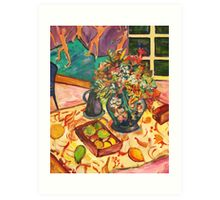 Fruit and Vase on Table Art Print