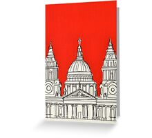 St Paul's Facade ( Orange ) Greeting Card