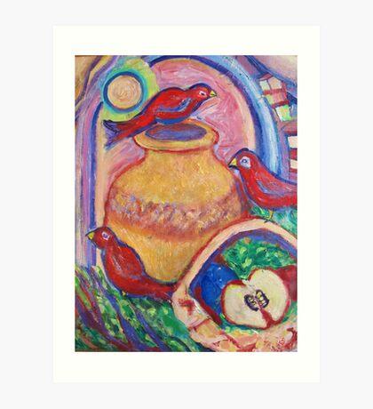 3 Redbirds in the Moonlight Art Print