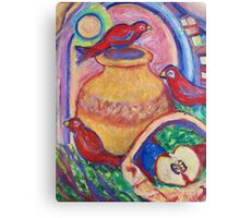 3 Redbirds in the Moonlight Canvas Print
