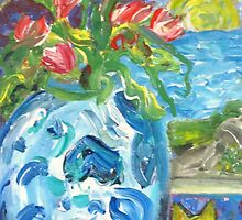 Blue China with Flowers and Cat by artqueene