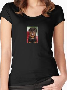 Portrait Of A Young Rottweiler Male Dog Women's Fitted Scoop T-Shirt