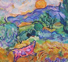 Van Gogh's Meadow with Pink Cow by artqueene