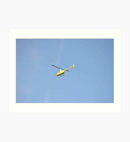 Yellow R44 Helicopter Art Print