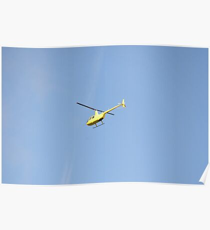 Yellow R44 Helicopter Poster