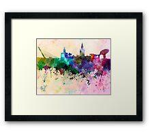 Seville skyline in watercolor background Framed Print