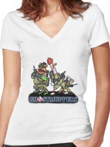 Ghostmuppers Women's Fitted V-Neck T-Shirt