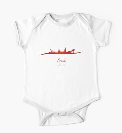 Seville skyline in red One Piece - Short Sleeve