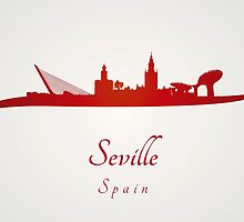 Seville skyline in red by paulrommer