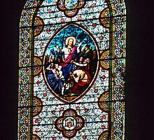 Stained glass east end window St Pierre Carennac 198402270066  by Fred Mitchell
