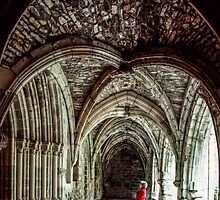 Marj in C10 Cloisters of Fenelon Abbey Carennac 198402270068  by Fred Mitchell