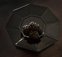 Blackberries on a Black Plate by Jay Gross