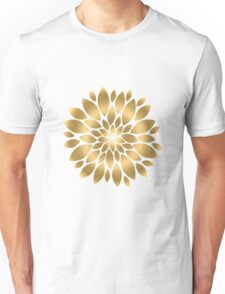 Pretty gold faux glitter abstract flower illustration  Unisex T-Shirt
