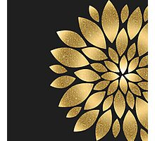 Pretty gold faux glitter abstract flower illustration  Photographic Print