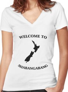 Welcome to Shabangabang Women's Fitted V-Neck T-Shirt