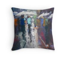 Street Walk in a Sun Shower Throw Pillow