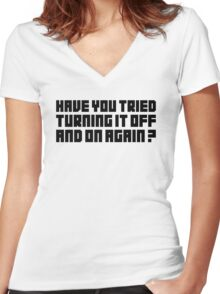 Turning It Off Women's Fitted V-Neck T-Shirt