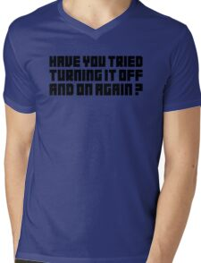 Turning It Off Mens V-Neck T-Shirt